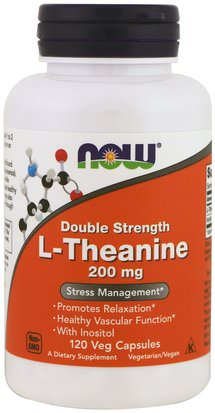 Suplementos, Aminoácidos, L Teanina Now Foods, L-Theanine, Double Strength, 200 mg, 120 Veg Capsules