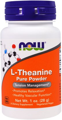 Suplementos, L Theanine Now Foods, L-Theanine, Pure Powder, 1 oz (28 g)