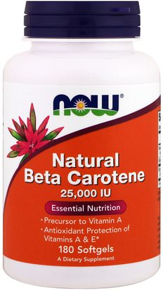 Vitaminas, Vitamina A, Beta Caroteno, Suplementos, Carotenoides Now Foods, Natural Beta Carotene, 25,000 IU, 180 Softgels