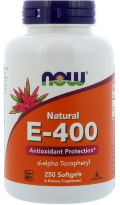 Vitaminas, Vitamina E, Vitamina E 100% Natural Now Foods, Natural E-400, 250 Softgels