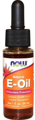 Vitaminas, Vitamina E, Vitamina E 100% Natural, Líquido De Vitamina E Now Foods, Natural E-Oil, Antioxidant Protection, 1 fl oz (30 ml)