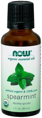 Baño, Belleza, Aceites Esenciales De Aromaterapia Now Foods, Organic Essential Oils, Spearmint, 1 fl oz (30 ml)