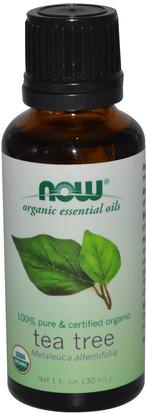 Baño, Belleza, Aceites Esenciales De Aromaterapia, Aceite De Árbol De Té Now Foods, Organic Essential Oils, Tea Tree, 1 fl oz (30 ml)
