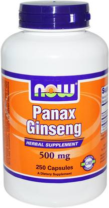 Suplementos, Adaptógeno, Gripe Fría Y Viral, Ginseng Now Foods, Panax Ginseng, 500 mg, 250 Capsules