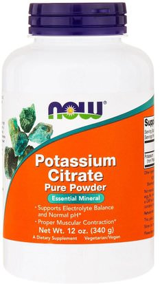 Suplementos, Minerales, Potasio Now Foods, Potassium Citrate Pure Powder, 12 oz (340 g)