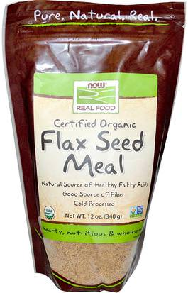 Suplementos, Semillas De Lino, Fibra De Lino Now Foods, Real Food, Certified Organic, Flax Seed Meal, 12 oz (340 g)