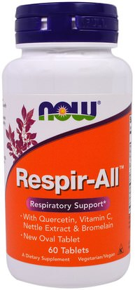 Salud, Pulmón Y Bronquial Now Foods, Respir-All, 60 Tablets