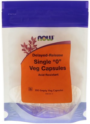 Suplementos, Cápsulas Vacías Now Foods, Single 0 Veg Capsules, Delayed-Release, 300 Empty Veg Capsules