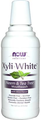 Baño, Belleza, Cuidado Bucal Oral, Xylitol Cuidado Bucal, Enjuague Bucal Now Foods, Solutions, XyliWhite Mouthwash, Neem & Tea Tree with Mint, 16 fl oz (473ml)