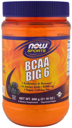 Suplementos, Aminoácidos, Bcaa (Aminoácido De Cadena Ramificada) Now Foods, Sports, BCAA Big 6, Natural Grape Flavor, 21.16 oz (600 g)