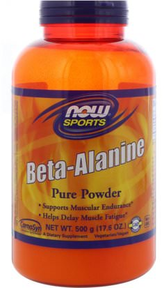 Suplementos, Suplementos Anabólicos, Beta Alanina Now Foods, Sports, Beta-Alanine, Pure Powder, 17.6 oz (500 g)