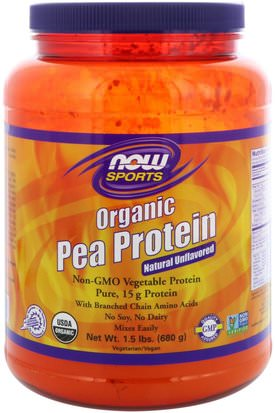 Suplementos, Proteína, Proteína De Guisante Now Foods, Sports, Organic Pea Protein, Natural Unflavored, 1.5 lbs (680 g)