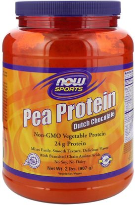 Suplementos, Proteína, Proteína De Guisante Now Foods, Sports, Pea Protein, Dutch Chocolate, 2 lbs (907 g)