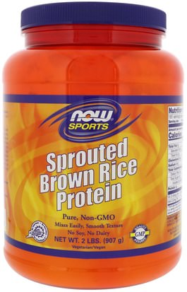 Suplementos, Proteína, Proteína De Arroz En Polvo Now Foods, Sports, Sprouted Brown Rice Protein, Unflavored, 2 lbs (907 g)