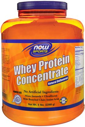 Suplementos, Proteína De Suero De Leche Now Foods, Sports, Whey Protein Concentrate, Natural Unflavored, 5 lbs (2268 g)