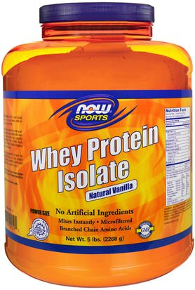 Suplementos, Proteína De Suero De Leche Now Foods, Sports, Whey Protein Isolate, Natural Vanilla, 5 lbs. (2268 g)