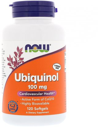 Suplementos, Antioxidantes, Ubiquinol Qh, Ubiquinol Coq10 Now Foods, Ubiquinol, 100 mg, 120 Softgels