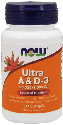 Vitaminas, Vitamina A Y D Now Foods, Ultra A & D-3, 25,000/1,000 IU, 100 Softgels