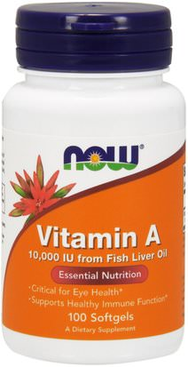 Vitaminas, Vitamina A Now Foods, Vitamin A, 10,000 IU, 100 Softgels