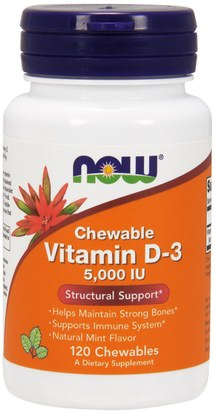 Vitaminas, Vitamina D3 Now Foods, Vitamin D-3, Natural Mint Flavor, 5,000 IU, 120 Chewables