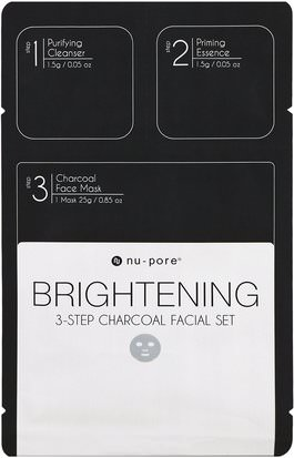 Belleza, Máscaras Faciales, Máscaras De Láminas Nu-Pore, Brightening 3-Step Charcoal Facial Set, 1 Pack