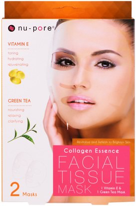 Belleza, Máscaras Faciales, Máscaras De Láminas Nu-Pore, Collagen Essence Facial Tissue Mask, Vitamin E & Green Tea, 2 Mask