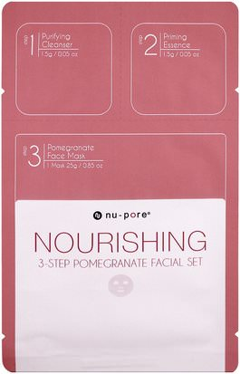 Belleza, Máscaras Faciales, Máscaras De Láminas Nu-Pore, Nourishing 3-Step Pomegranate Facial Set, 1 Pack
