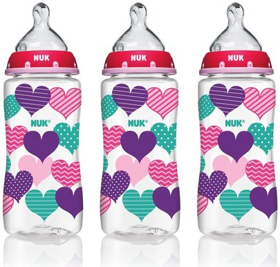 La Salud De Los Niños, Los Alimentos De Los Niños NUK, Bottle with Perfect Fit Nipple, 0+ Months, Medium, Hearts, 3 Wide-Neck Bottles, 10 oz (300 ml) Each