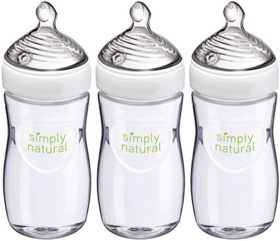 La Salud De Los Niños, La Alimentación Del Bebé NUK, Simply Natural, Bottles, 1+ Months, Medium, 3 Pack, 9 oz (270 ml) Each
