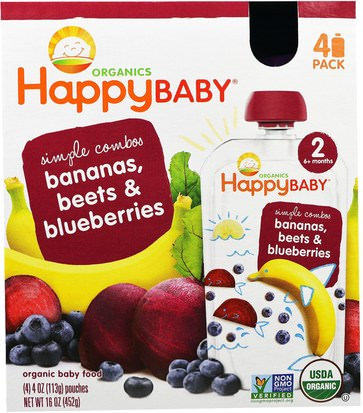 La Salud De Los Niños, Los Alimentos De Los Niños Nurture Inc. (Happy Baby), Organic Baby Food, Stage 2, Simple Combos, Bananas, Beets & Blueberries, 4 Pouches - 4 oz (113 g) Each