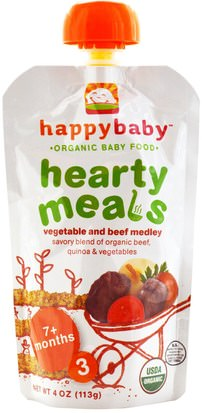 La Salud De Los Niños, La Alimentación Del Bebé, La Comida Nurture Inc. (Happy Baby), Organic Baby Food, Hearty Meals, Vegetable and Beef Medley, 7+ Months, Stage 3, 4 oz (113 g)