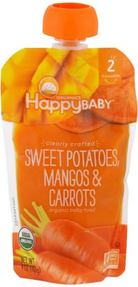La Salud De Los Niños, La Alimentación Del Bebé, La Comida Nurture Inc. (Happy Baby), Organic Baby Food, Stage 2, Clearly Crafted, Sweet Potatoes, Mangos & Carrots, 6+ Months, 4 oz (113 g)