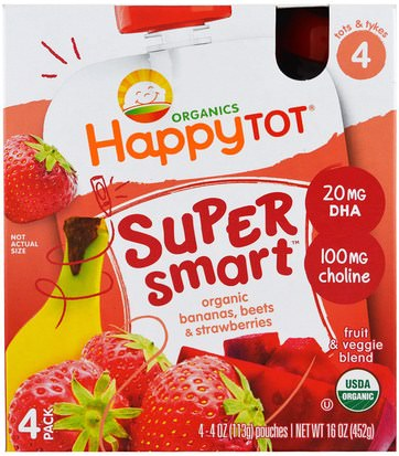 Salud De Los Niños, Alimentación Del Bebé, Refrigerios Para Bebés Y Aperitivos Nurture Inc. (Happy Baby), Organics Happy Tot, Stage 4, Super Smart, Fruit & Veggie Blend, Organic Bananas, Beets & Strawberries, 4 Pouches, 4 oz (113 g) Each