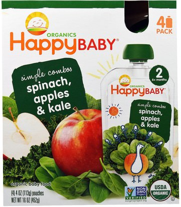 La Salud De Los Niños, Los Alimentos De Los Niños Nurture Inc. (Happy Baby), Organic Baby Food, Stage 2, Simple Combos, Spinach, Apples & Kale, 4 Pouches, 4 oz (113 g) Each