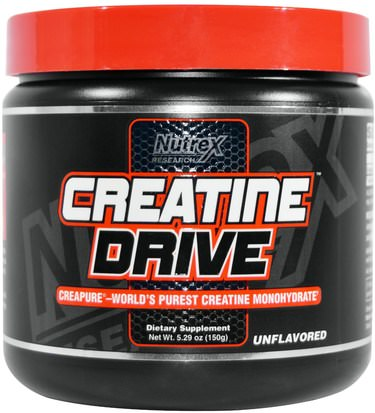 Deportes, Polvo De Creatina, Músculo Nutrex Research Labs, Creatine Drive, Creatine Monohydrate, Unflavored, 5.29 oz (150 g)