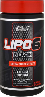 Pérdida De Peso, Dieta, Deportes Nutrex Research Labs, Lipo 6 Black, Ultra Concentrate, Fruit Punch, 70 g