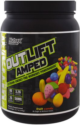 Deportes, Entrenamiento Nutrex Research Labs, Outlift Amped, Pre-Workout Powerhouse, Fruit Candy, 15.7 oz (444 g)
