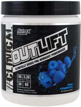 Salud, Energía, Deportes Nutrex Research Labs, Outlift, Clinically Dosed Pre-Workout Powerhouse, Blue Raspberry, 8.78 oz (249 g)