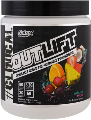 Salud, Energía, Deportes Nutrex Research Labs, Outlift, Clinically Dosed Pre-Workout Powerhouse, Miami Vice, 8.89 oz (252 g)