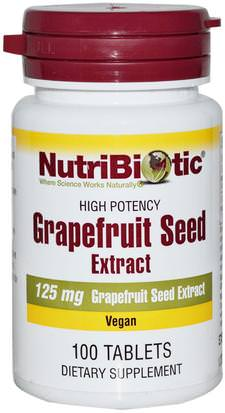 Suplementos, Extracto De Semilla De Pomelo NutriBiotic, Grapefruit Seed, Extract, 125 mg, 100 Tablets