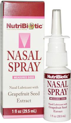 Suplementos, Extracto De Semilla De Pomelo, Salud Nasal NutriBiotic, Nasal Spray, with Grapefruit Seed Extract, 1 fl oz (29.5 ml)