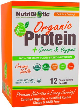Suplementos, Proteína NutriBiotic, Organic Protein + Greens & Veggies, Creamy Vanilla, 12 Single Serving Packets, 1.26 oz (36 g) Each
