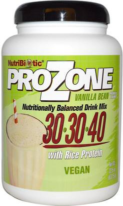 Suplementos, Proteína, Proteína De Arroz En Polvo NutriBiotic, Prozone, Nutritionally Balanced Drink Mix, Vanilla Bean, 22.5 oz (637.5 g)