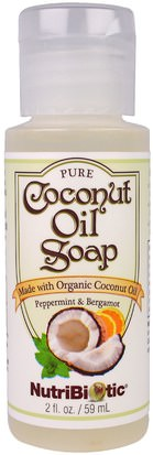 Baño, Belleza, Jabón, Gel De Ducha NutriBiotic, Pure Coconut Oil Soap, Peppermint & Bergamot, 2 fl oz (59 ml)
