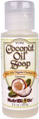 Baño, Belleza, Jabón, Gel De Ducha NutriBiotic, Pure Coconut Oil Soap, Unscented, 2 fl oz (59 ml)