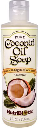 Baño, Belleza, Jabón, Gel De Ducha NutriBiotic, Pure Coconut Oil Soap, Unscented, 8 fl oz (236 ml)
