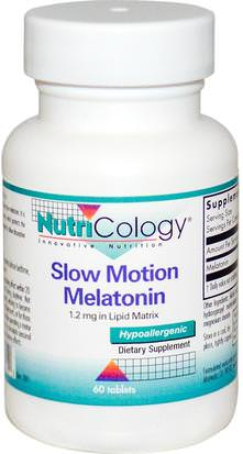 Suplementos, Dormir, Melatonina Nutricology, Slow Motion Melatonin, 60 Tablets