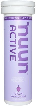 Deportes, Reposición De Bebida Electrolítica Nuun, Active, Effervescent Electrolyte Supplement, Grape, 10 Tablets