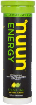 Deportes, Reposición De Bebida Electrolítica Nuun, Energy, Effervescent Electrolyte & Caffeine Supplement, Fresh Lime, 10 Tablets