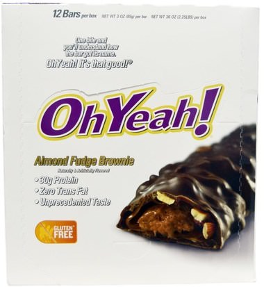 Deportes, Barras De Proteína Oh Yeah!, Almond Fudge Brownie, 12 Bars - 3 oz (85 g) Each